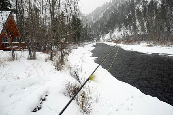 Winter fly fishing on Rock Creek in Montana